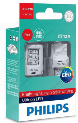 Габарит LED Philips W21W RED Ultinon 12V 11065ULRX2 (2шт)