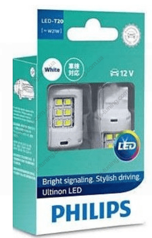 Габарит LED Philips W21W White Ultinon 12V 11065ULWX2 (2шт)
