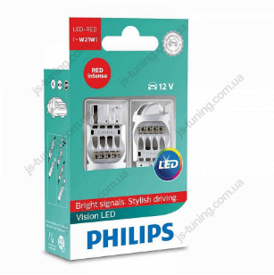 Габарит LED Philips W21 RED 12V 12838REDX2 (2шт)